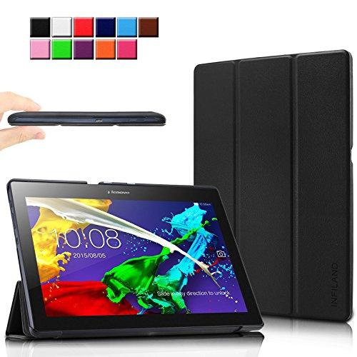 Infiland Lenovo Tab 10 / TAB2 A10-30 Hülle, Ultra Dünn Tri-Fold Smart-Muschel Schutzhülle Tasche mit Auto Sleep/Wake Funktion für Lenovo Tab 3 10 Plus/Tab 3 10 Business 10,1 Zoll Tablet, Schwarz