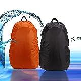 Rucksack Regenschutz, 45L Wasserdichter Regenhüllen Rucksack Überzug Wasserfeste Abdeckung Backpack Schulranzen Schultasche Regendicht Hülle für Camping Wandern,schwarz+Orange,2 Stück