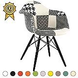 MOBISTYL Promo 1 x Fauteuil Design Retro Eiffel Inspiration Eiffel Pieds en Bois Noir Assise Patchwork Noir Blanc DAWB-PN-1