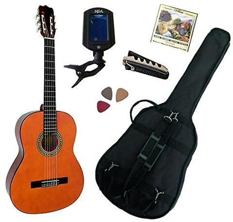 Pack Guitare Classique 4/4 (Adulte) Gaucher Avec 5 Accessoires (nature)