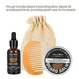 3 Unids/set Set para el cuidado de la barba, Bálsamo hidratante para barba de 60 g para hombres + Aceite para barba de 30 g + Peine + Bolsa de almacenamiento