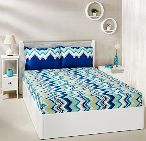 Amazon Brand - Solimo Abstract Waves 144 TC 100% Cotton Double Bedsheet with 2 Pillow Covers, Green