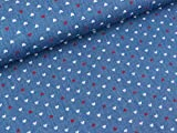 S&W Leichter Jeansstoff Kleine Herzen auf Jeansblau
