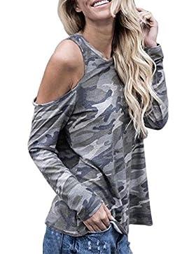 Covermason Mujer Fuera del hombro Camuflaje Blusa Manga larga Camiseta