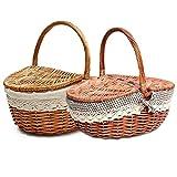 Cesta de mimbre hecha a mano para cocina, para camping, picnic, compras, almacenamiento con tapa y asa de madera color mimbre cesta de picnic