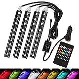 Striscia RGB LED per Auto con Telecomando, Luci Decorative Interne dell'automobile con 36 LEDs e Caricatore per Accendisigari, Luci Abitacolo Auto 12V
