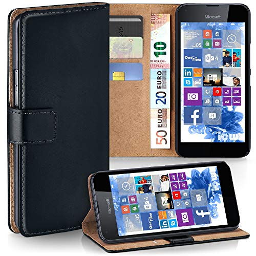 moex Microsoft Lumia 550 | Hülle Schwarz mit Karten-Fach 360° Book Klapp-Hülle Handytasche Kunst-Leder Handyhülle für Nokia Lumia 550 Case Flip Cover Schutzhülle Tasche
