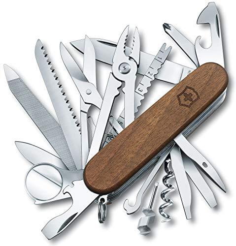 Victorinox Holz Taschenmesser Swiss Champ Wood (29 Funktionen, Nussbaumholz, Holzsäge, Schere)