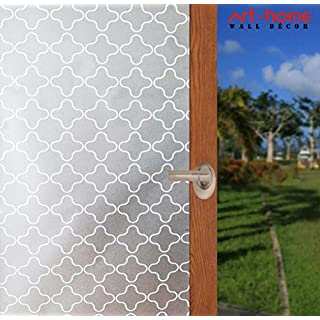 Arthome Frosted Decorative Privacy Window Films No Glue Self Static Cling Anti UV Non-Adhesive Removable for Bathroom Living Room Bedroom Kitchen Office Home (AHP303, 23.6 x 100 inch)