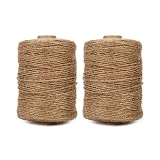 Tenn Well 500 Feet x 2 Rolls Jute Twine, 3Ply Thick Jute String Rope for Gardening Bundling Gift Decoration DIY Crafts (Brown)