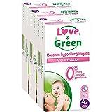 Love & Green - Couches Bébé Hypoallergéniques 0% -  Taille 4+ (9-20 kg) - Lot de 3 x 42 couches (126 couches)