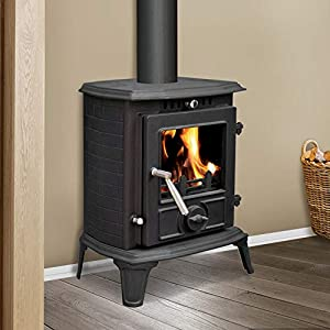 Lincsfire Modern Hatton JA060 5.5KW MultiFuel WoodBurning Stove Clean Burn WoodBurner Cast Iron Log Burner Woodburning Fireplace