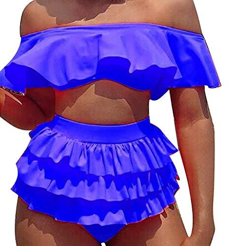 Malloom-Bekleidung Vintage Print Totem Push Up Sexy Bikini Set Frau Bikini mit Rüschen Vogel Print Lace-up Quaste, Push Up Basic 2 Stück Bademode Sommer Swimsuit swimanzug Swimwear