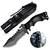 NedFoss Outdoor Survival Messer, Camping Gürtelmesser, Überlebensmesser Survival Bushcraft Messer, Premium Qualität, Stahl 7Cr13MoV, Lederscheide (Wolf 03)