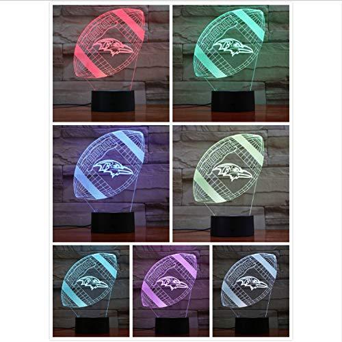 YS753 Baltimore Ravens Nachtlicht Led Dekor 3D Illusion Touch Sensor Kinder Kinder Jungen Geschenk Tisch Schlafzimmer Lampe American Football Team