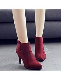 432af0b8d8 KHSKX-Rojo 9Cm Nueva Punta De Invierno Zapatos De Mujer Satinado Resistente  Al Agua Después De La Cremallera Fino Y Alta Botas De Tacón Y…