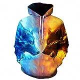 Hoodie di lupo di ghiaccio del hoodie 3d che faccia la maglia del cappuccio della protezione , lms039 , s