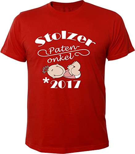Mister Merchandise Herren Men T-Shirt Patenonkel - 2017 Tee Shirt Bedruckt Rot