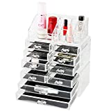 Discoball Acrylic Three DIY Sections Cosmetic Storage Case with Ten Drawers Makeup Organiser Display Box