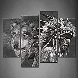 4 Panel Wall Art Black And White Wolf And Indians Painting The Picture Print On Canvas Animal Pictures For Home Decor Decoration Gift Piece Stretched By Wooden Frame Ready To Hang
