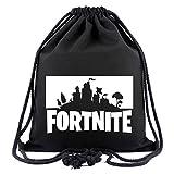 SIMYJOY Fortnite Fans Segeltuch Sporttaschen Gym Sack Gaming Casual Gym Schwimmen Bücher Kordelzug Tasche für Reisen S