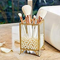 PuTwo Makeup Organizer Gold Make up Brush Holder with Free, White Pearls, Gold Brush Holder