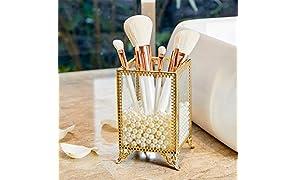 PuTwo Organizador de Brochas de Maquillaje de Vidrio & Laton Vintage Caja Pincel Maquillaje Soporte Brochas Maquillaje con Perlas Almacenaje Maquillaje Regalo Ideal para Navidad Aniversario - Oro