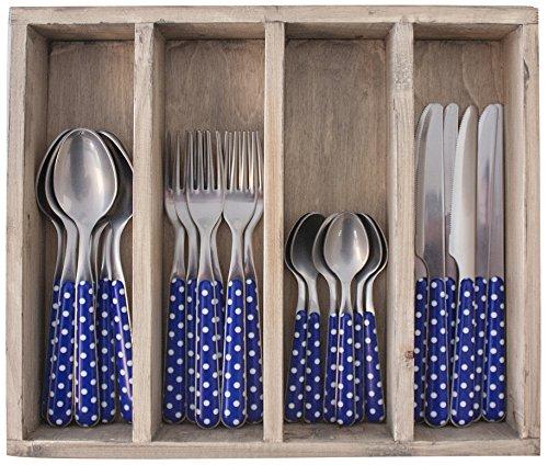 Provence Pois dîner Ensemble de Couverts en Acier Inoxydable, bac, Bleu, 33.5 x 29.5 x 6.5 cm
