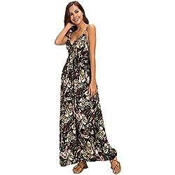 Urban GoCo Mujer Vestido Largo Maxi de Verano Elegante Boho Backless Sundress para Boda Playas Fiesta Noche (L, 4 Negro)