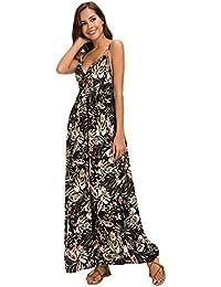 Urban GoCo Donna Vestito Lungo Backless Sundress Casual Stampa Fiore Maxi  Boho Vestito Spiaggia 3c85bb8cb59