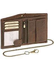 Biker Portefeuille pour homme et femme avec la chaîne Vintage-Style format portrait LEAS MCL, cuir véritable, marron - ''LEAS Chain-Series''