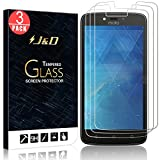 3 Packs Protection écran Moto C Plus, J&D [Verre Trempé] Protection écran Clair HD pour Motorola Moto C Plus - Protège l'écran de la chute et des rayures