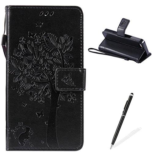 Apple iPhone 5/5S/SE Custodia, Feeltech Sbalzato Albero Gatto Farfalla Modello Fiore Progettazione [Stylus Pen] Per il coperchio Apple iPhone 5/5S/SE Case, Elegante Cuoio dellunità di Elaborazione Ca Nero