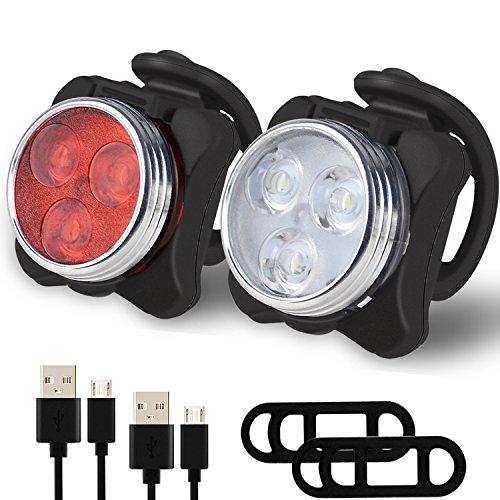 Balhvit Fahrradlicht, USB Wiederaufladbare LED Fahrradbeleuchtung Set, Fahrradlampe Set inkl mit 4 Licht-Modus, Wasserdichte LED Frontlicht und Rücklicht, Lithium Akku Aufladbare Fahrrad Lichter Kinde