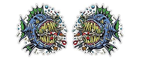 Cooler Piranha Crusher Skater Fisch Fish Monster Skateboard Snowboard Surfboard Aufkleber Sticker + Gratis Schlüsselringanhänger aus Kokosnuss-Schale + Auto Motorrad Laptop Racing Hip-Hop Basejumper