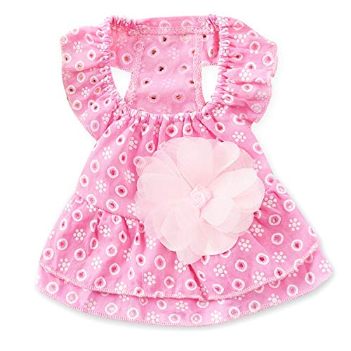 Wallfire Nette beiläufige Hündchen Katze Dot aushöhlen Prinzessin Kleid 3D Blume Applique Rock Pet Apparel Jacke Kostüme (Color : Pink, Size : XS) -