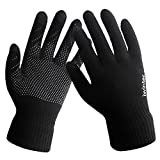 LvLoFit Touch Sense Guanti termici per lana invernale lavorato a maglia caldo pile antiscivolo per la corsa quotidiana lavoro ciclismo guida unisex per uomo e donna (black)