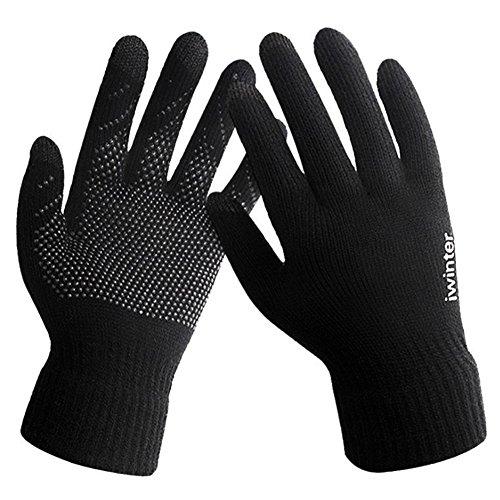 LvLoFit Touchscreen Winter Handschuhe Anti-Rutsch Warme Fleece Wolle Stricken für Laufen Workout Fahrrad Fahren Windstopper Gloves zum Herren Damen (Schwarz)