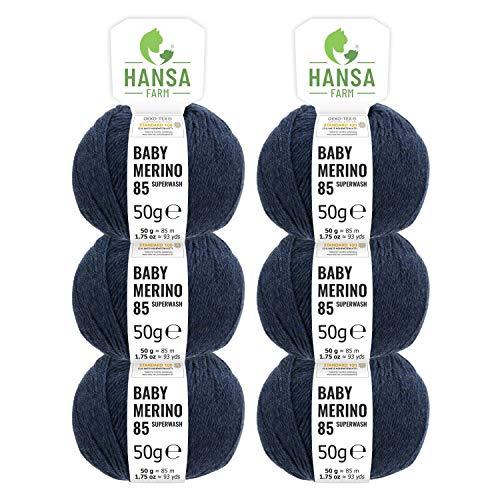 Hansa-farm 100% lana merino in più di 35 colori (non punge), set da 300g (6 x 50g) - lana baby merino per maglieria e uncinetto in 4 spessori del filo blu scuro (heather)