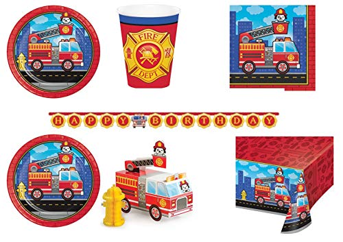 asa süße Pompieri Coordinato ADDOBBI Tisch Festa Feuerwehr - Kit Nr. 1 CDC-(8 Teller, 23 cm, 8 Gläser, 16 TOVAGLI,1 TOVAGLIA,1 Ghirlanda,1 CENTROTAVOLA) ()