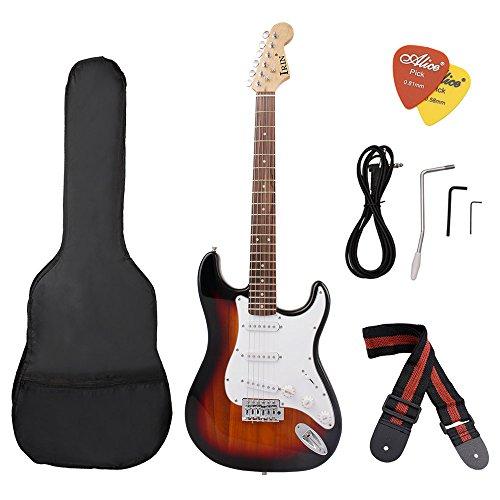ammoon ST Elektrische Gitarre Lindenholz Körper Palisander mit Gig Tasche Picks für Anfänger Noir Soleil - Classique 4 Licht