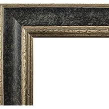 Marco Charleston 92 x 44 cm madera maciza, marci pomposo de alta calidad 44 x 92 cm, color seleccionado: plata negro con vidrio acrílico antirreflector 1 mm