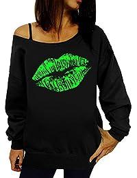 Women s Sweatshirt TUDUZ Women Lips Printed Off Shoulder Long Sleeve T Shirt  Autumn Winter Loose Sweatshirt 28e1925b2