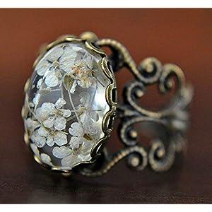 Echte Blüten Ring Verstellbar