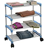 PARASNATH Steel and Plastic Shoe Rack with 4 Shelves (13x12x2cm, Blue)
