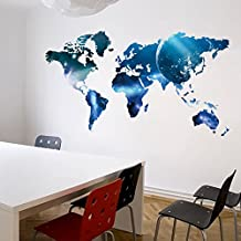 Piruletas de planeta, pegatinas de pared de dormitorio de huéspedes de mundo mapa, las etiquetas engomadas de dormitorio decoración pared plana