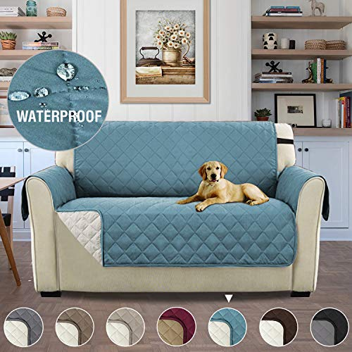 H.versailtex copridivano 2 posti impermeabile divano protector mobili coperture su due lati per cani/gatti letto con divano slipcovers 190 x 116cm, pietra blu