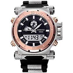 BOAMIGO Luminous Mens Watch with Rotating Bezel and Alarm Quartz Digital 50M Waterproof (Rose gold Black)