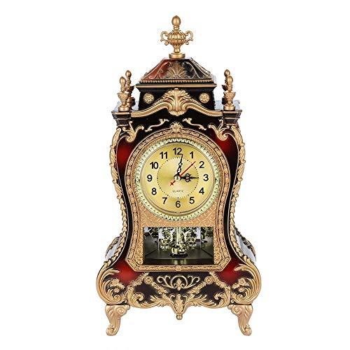 Descripción:  Este reloj vintage está hecho de plástico de alta calidad, ecológico, resistente y ligero.Es elegante y exquisito, un hermoso reloj de mesa decorativo en tu casa.Amplia gama de aplicaciones para el hogar, la oficina, el hotel, el mercad...