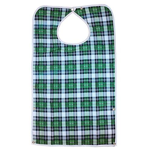 Wasserdicht Erwachsene Lätzchen Kleidungschutz Bib Tuch Schürze Hibiskus, mit Druckknopfverschluss, für Behinderung Hilfe, Altenpflege Karo-Muster